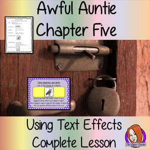 Using text effects Complete English Lesson on Awful Auntie by David Walliams. Teachers will get full resources and plans for teaching school children to use text effects in the classroom. There is a PowerPoint to explain the activity and then practice independently. There is also a short chapter summary sheet for kids to reflect on the chapter read and share their ideas. #lessonplans #bookstudy #teachingideas #readingactivities #awfulaunty #davidwalliams