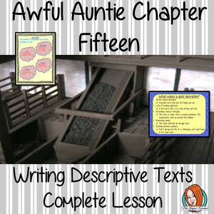 Writing descriptive texts Complete English Lesson on Awful Auntie by David Walliams. Teachers will get full resources and plans for teaching school children to Write descriptive texts in the classroom. There is a PowerPoint to explain the activity and then practice independently. There is also a short chapter summary sheet for kids to reflect on the chapter read and share their ideas. #lessonplans #bookstudy #teachingideas #readingactivities #awfulaunty #davidwalliams