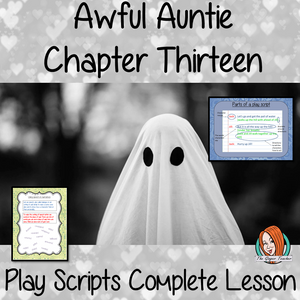 Writing play scripts Complete English Lesson on Awful Auntie by David Walliams. Teachers will get full resources and plans for teaching school children to Write play scripts in the classroom. There is a PowerPoint to explain the activity and then practice independently. There is also a short chapter summary sheet for kids to reflect on the chapter read and share their ideas. #lessonplans #bookstudy #teachingideas #readingactivities #awfulaunty #davidwalliams