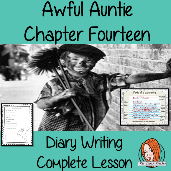 Diary writing Complete English Lesson on Awful Auntie by David Walliams. Teachers will get full resources and plans for teaching school children to write diary entries in the classroom. There is a PowerPoint to explain the activity and then practice independently. There is also a short chapter summary sheet for kids to reflect on the chapter read and share their ideas. #lessonplans #teachingideas #readingactivities #davidwalliams