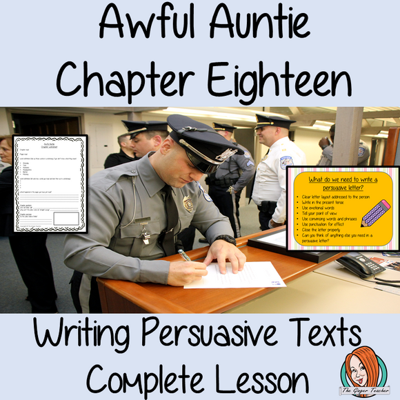 Writing persuasive texts; Complete Lesson on Awful Auntie complete, English lesson on the 18th chapter of the book Awful Auntie by David Walliams. The lesson on how to write persuasive texts. The lesson uses the events in the chapter as a base. Children will read and discuss the chapter. There is a PowerPoint to ensure children understand persuasive texts. #lessonplans #teachingideas #readingactivities #davidwalliams