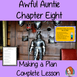 Writing a plan Complete English Lesson on Awful Auntie by David Walliams. Teachers will get full resources and plans for teaching school children to write story plans in the classroom. There is a PowerPoint to explain the activity and then practice independently. There is also a short chapter summary sheet for kids to reflect on the chapter read and share their ideas. #lessonplans #bookstudy #teachingideas #readingactivities #awfulaunty #davidwalliams