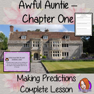 Writing Predictions Complete English Lesson on Awful Auntie by David Walliams. Teachers will get full resources and plans for teaching school children about writing predictions in the classroom. There is a PowerPoint to explain the activity and then practice independently. There is also a short chapter summary sheet for kids to reflect on the chapter read and share their ideas. #lessonplans #bookstudy #teachingideas #readingactivities #awfulaunty #davidwalliams