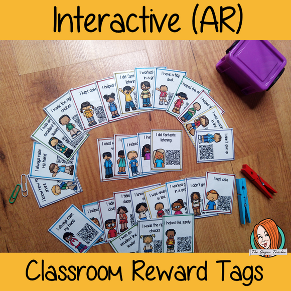 Interactive Classroom Reward Tags Give you class something to brag about! These reward tags can be printed and used in your classroom download the free Metaverse AR (augmented reality) app Scan the code and a fun character will appear in your classroom to congratulate the kids! each tag has AR reward that the children collect also parent instruction cards to send home. #ar #augmentedreality #bragtags #rewardtag #awardtags