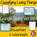Classifying Living Things Google Slides Presentation digital, interactive Worksheets  teach children about classifying living things in one complete lesson. There is Presentation on the three types of living things, animals, plants and microorganisms. Details how to classify each and using a classification key. differentiated worksheets for student understanding for teaching kids about classifying living things in your classroom #livingthings #science #classification #googleclassroom