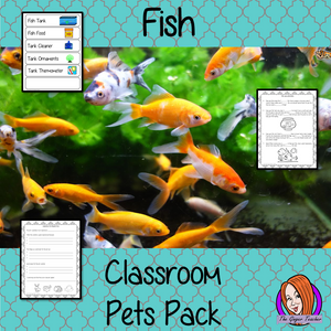 Fish Classroom Pets Pack a fun pack for your classroom hamster. 10 sheets included to allow children to request a pet, monitor it with an observation journal, draw pictures of the class pet, set up feeding rotas, label the pet's equipment, create rules for the pet, read instructions for fish care and complete cloze sheets of the instructions. A great way to teach about caring for living things. #teaching #classpets #pshe #pets #fish #caring #lessons #animals