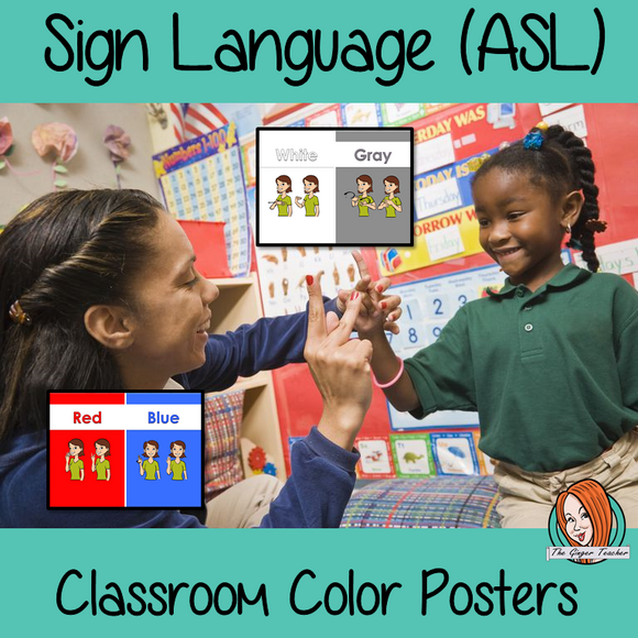 Sign Language Classroom ASL Color Posters 10 Posters with colors and the corresponding sign in American Sign Language Sign language colors asl These are great for decorating your classroom or for using as flash cards to teach children the ASL signs for colors.  #asl #signlanguage #classroom  #aslcolors