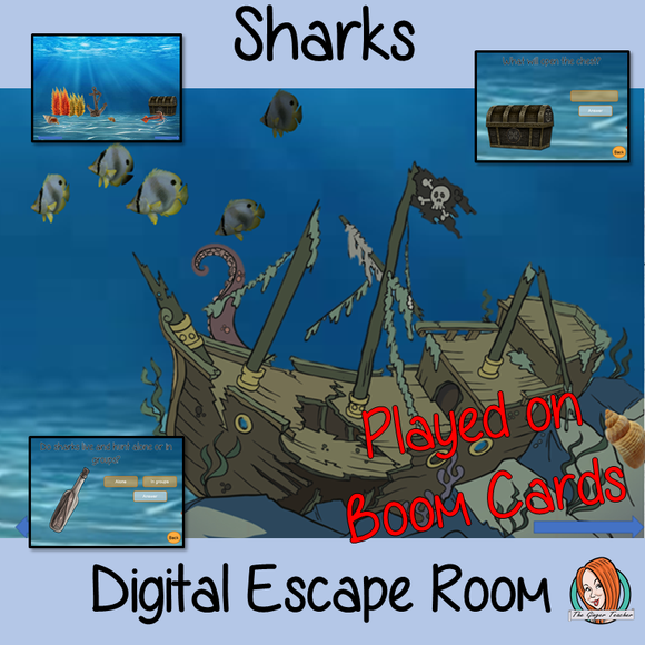 Sharks escape Room Children can learn and practice Shark facts with this fun digital escape room. Children will need to explore the under sea world answer questions and collect information to solve the puzzles and eventually escape. No printing required This game uses Boom Cards and you will need a Boom card account to play it which is free