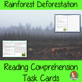 Rainforest Deforestation Reading Comprehension Cards  Differentiated reading comprehension cards. Three levels of texts and questions to help children with reading comprehension. This text is on Rainforest Deforestation and has questions to help children understand and draw meaning from the text.