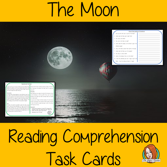 The Moon Reading Comprehension Cards  Differentiated reading comprehension cards. Three levels of texts and questions to help children with reading comprehension. This text is on The Moon and has questions to help children understand and draw meaning from the text.