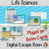 Life Sciences Escape Room Children can practice and learn about life science with this fun digital escape room. Children will need to explore the room answer questions and collect information to solve the puzzles and eventually escape the mad scientist's lab. No printing required This game uses Boom Cards and you will need a Boom card account to play it which is free
