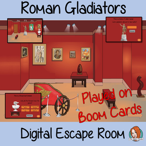 Roman gladiators escape Room Children can learn and practice gladiator facts with this fun digital escape room. Children will need to explore the museum answer questions and collect information to solve the puzzles and eventually escape. No printing required This game uses Boom Cards and you will need a Boom card account to play it which is free