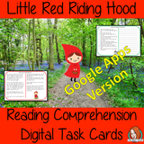 Distance learning Little Red Riding Hood digital Reading Comprehension Cards Differentiated reading comprehension cards. Three levels of texts and questions to help children with reading comprehension. This text is on the story of Little Red Riding Hood and has questions to help children understand and draw meaning from the text. Google classroom