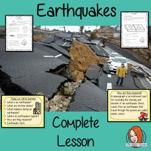 Earthquakes PowerPoint and Worksheets This download teaches children about earthquakes in one complete lesson.  Learn all about this natural disaster detailed 21 slide PowerPoint on what earthquakes are, how they happen, tectonic plates, where they are and how they are measured There are also differentiated, 8 page, earthquake worksheets to allow students to demonstrate their understanding. This pack is great for teaching kids all about earthquakes as a natural disaster.