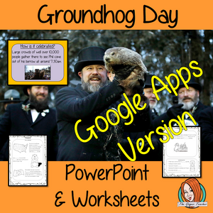 Distance Learning Groundhog Day Google Slides Lesson   This teaches children about Groundhog Day in one complete lesson. There is a detailed 21 slide presentation on Groundhog Day celebrations, fun Groundhog Day facts, details about how the celebration started and how it is celebrated. There are also differentiated, 5 page, Google Slides worksheets to allow students to demonstrate their understanding. This pack is great for teaching kids all about this fun event in your classroom.  This is the Google Slides
