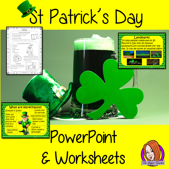 Distance Learning St Patrick's Day Google Slides Lesson This lesson includes a detailed 36 slide presentation explaining all about Saint Patrick and St Patrick's Day. It covers the important parts of the celebration; Who Saint Patrick was and his life; when and what Saint Patrick's Day is; how people celebrate and explains what a leprechaun is.  This is the Google Slides version of this lesson!  This download includes: - Complete 36 slide presentation  - Three versions of the 4 page differentiated worksheet