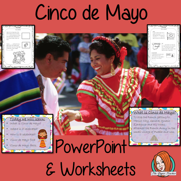 Cinco de Mayo PowerPoint and Worksheets teach children about the festival of in one complete lesson. Detailed 26 slide PowerPoint on the celebrations fun traditional facts details about how it is celebrated, information about the food that is eaten and a look at the different parts of the world that celebrate. Differentiated 8 page worksheets so students demonstrate understanding, great for teaching kids all about this Mexican celebration in your classroom. #teaching #cincodemayo