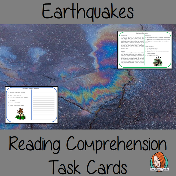 Earthquakes Reading Comprehension Cards Differentiated reading comprehension cards. Three levels of texts and questions to help children with reading comprehension. This text is on Earthquakes and has questions to help children understand and draw meaning from the text.