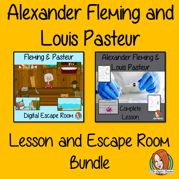 Alexander Fleming and Louis Pasteur Lesson and Escape Room Bundle