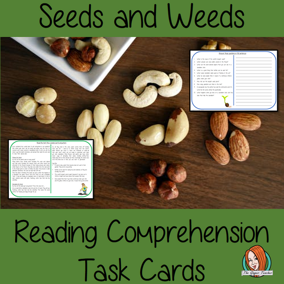 Seeds and Weeds Reading Comprehension Cards  Differentiated reading comprehension cards. Three levels of texts and questions to help children with reading comprehension. This text is on Seeds and Weeds and has questions to help children understand and draw meaning from the text.