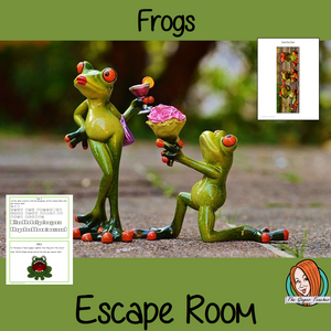 Frogs Escape Room Game     Try this escape room style game with your students today! This is a fun game that is perfect for teaching children about Frogs. This game focuses on students finding out facts and information and using these to solve puzzles. This helps them to learn.     This activity is great for the beginning of a topic to introduce information or at the end to recap.     Students are trying to help an alien understand Frogs and they must solve a series of clues, as well as decode different cip