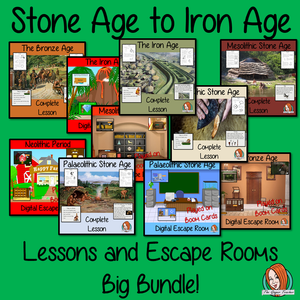 Pre-History Stone Age to Iron Age Lessons and Escape Rooms Big Bundle