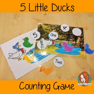 Five Little Ducks Numbers Game Use this fun game to demonstrate the 5 little Ducks song. Use the scene and the Ducks to act out the song and practice counting. Preschool game. Great for teaching counting to prek