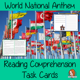 World National Anthem Reading Comprehension Cards  Differentiated reading comprehension cards. Three levels of texts and questions to help children with reading comprehension. This text is on World National Anthem and has questions to help children understand and draw meaning from the text.