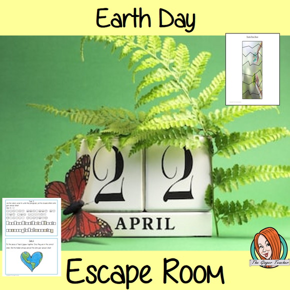 Earth Day Escape Room Game     Try this escape room style game with your students today! This is a fun game that is perfect for teaching children about Earth Day. This game focuses on students finding out facts and information and using these to solve puzzles. This helps them to learn.     This activity is great for the beginning of a topic to introduce information or at the end to recap.     Students are trying to help an alien understand Earth Day and they must solve a series of clues, as well as decode d