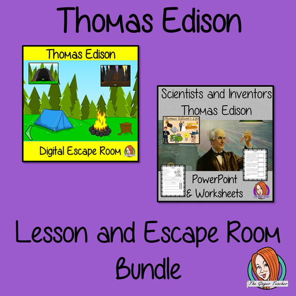 Thomas Edison Lesson and Escape Room Bundle