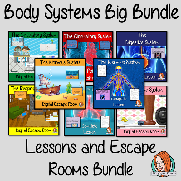 Body Systems Lessons and Escape Rooms Big Bundle