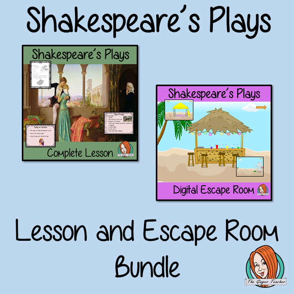Shakespeare's Plays Lesson and Escape Room Bundle