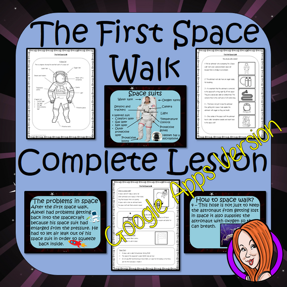 Distance Learning, The First Space Walk, Google Slides Lesson  The anniversary of the First Spacewalk is the 18th of March!  These resources include a complete lesson on the First Spacewalk. There is a detailed 41 slide presentation on the details of the walk and surviving in space. There are also differentiated, 4 page, spacewalk, Google Slides, worksheets to allow children to demonstrate understanding of the first spacewalk.  This is the Google Slides version of this lesson!