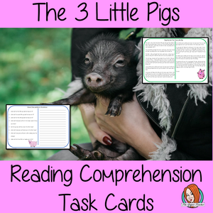 Reading Comprehension Cards   Differentiated reading comprehension cards. Three levels of texts and questions to help children with reading comprehension. This text is on the story of the 3 little pigs and has questions to help children understand and draw meaning from the text.