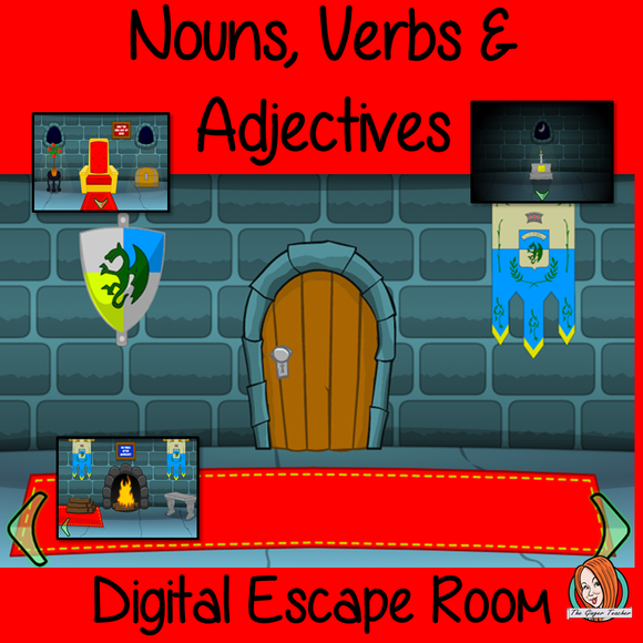 Nouns, Verbs and Adjectives Escape Room