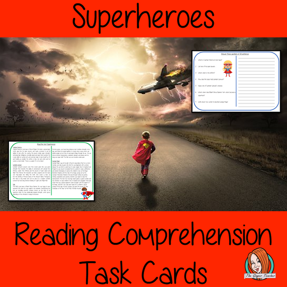 Superheroes Reading Comprehension Cards Differentiated reading comprehension cards. Three levels of texts and questions to help children with reading comprehension. This text is on the Superheroes and has questions to help children understand and draw meaning from the text.