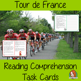 Tour de France Reading Comprehension Cards  Differentiated reading comprehension cards. Three levels of texts and questions to help children with reading comprehension. This text is on Tour de France and has questions to help children understand and draw meaning from the text.