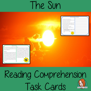 The Sun Reading Comprehension Cards  Differentiated reading comprehension cards. Three levels of texts and questions to help children with reading comprehension. This text is on The Sun and has questions to help children understand and draw meaning from the text.