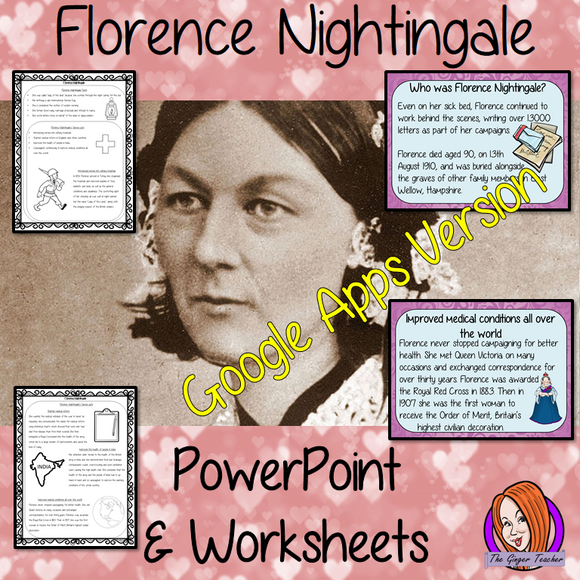 Distance Learning Florence Nightingale Google Slides Lesson  Fun history lesson to teach children about Florence Nightingale. Bring the lady with the lamp into your classroom, make teaching about nursing and nurse history fun and engaging. Great lesson with many facts and activities for your kids to enjoy. This lesson includes a detailed 23 slide presentation explaining all about Florence Nightingale. It covers the important parts of her life; who she was; interesting facts about her; brief summary of her m