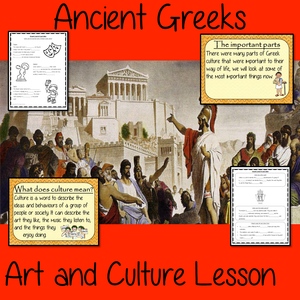 Ancient Greeks Art and culture Complete History Lesson Teach children about Ancient Greeks and their art and culture. This download is a complete lesson to teach children about the different art and culture of the Ancient Greeks. detailed 29 slide PowerPoint and 4 versions of the 6-page worksheet to show understanding an activity #lessonplanning #ancientGreeks #Greeks #teaching #resources #historylessons #historyplanning