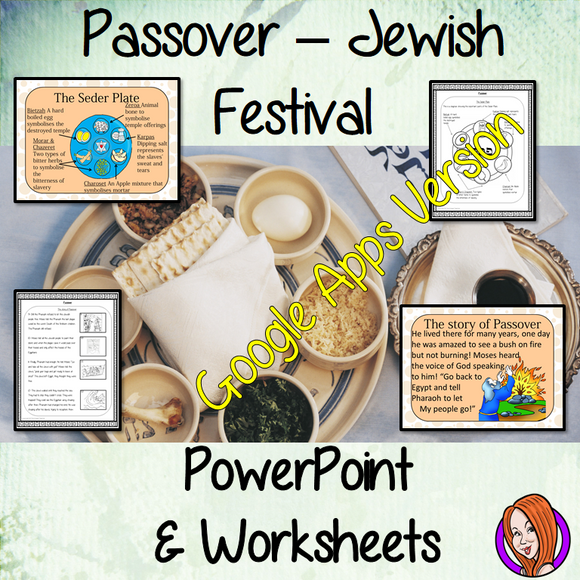 Distance Learning Passover, Jewish Festival Google Slides Lesson     This lesson teaches children about Passover. There is a detailed 30 slide presentation on the story of Passover, how it is celebrated and the Seder Plate. There are also differentiated, 7 page, Passover, Google Slides worksheets to allow children to demonstrate their understanding of Passover.  This is the Google Slides version of this lesson!