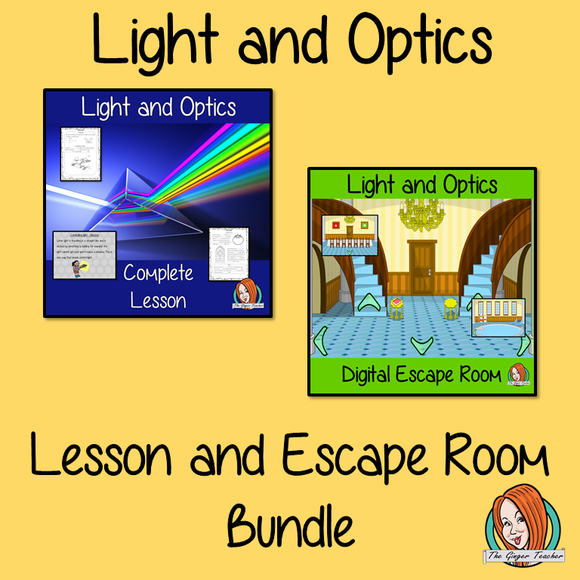 Light and Optics Science Lesson and Escape Room Bundle
