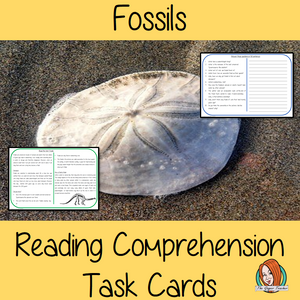 Fossils Reading Comprehension Cards Differentiated reading comprehension cards. Three levels of texts and questions to help children with reading comprehension. This text is on Fossils  and has questions to help children understand and draw meaning from the text.