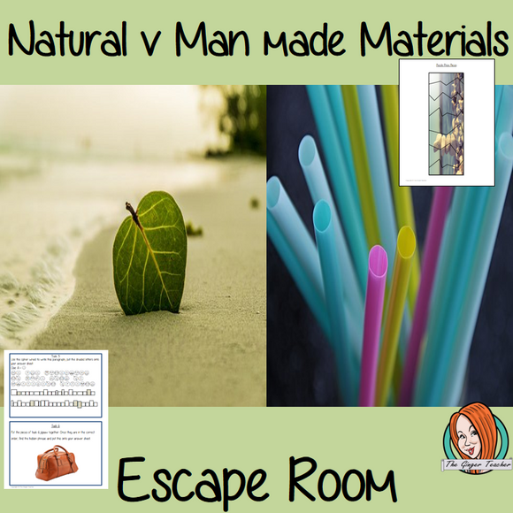 Natural v Man made Materials Escape Room Game  Try this escape room style game with your students today! This is a fun game that is perfect for teaching children about Natural v Man made Materials. This game focuses on students finding out facts and information and using these to solve puzzles. This helps them to learn.  This activity is great for the beginning of a topic to introduce information or at the end to recap.  Students are trying to help an alien understand Natural v Man made Materials and they m