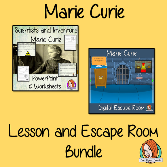 Marie Curie Lesson and Escape Room Bundle