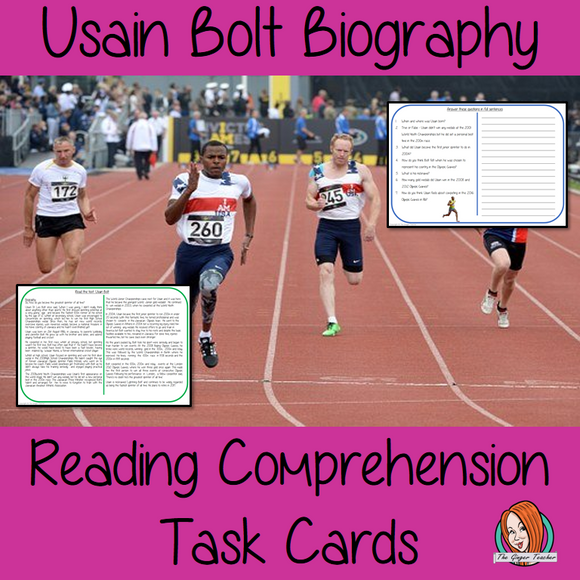Usain Bolt Biography Reading Comprehension Cards  Differentiated reading comprehension cards. Three levels of texts and questions to help children with reading comprehension. This text is on Usain Bolt Biography and has questions to help children understand and draw meaning from the text.