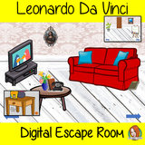 Leonardo Da Vinci Digital Escape Room Teach children about Leonardo Da Vinci with this fun digital escape room. Children will need to look around the room and learn facts about Da Vinci to solve the puzzles and eventually escape the room. No printing required This game requires PowerPoint to run.
