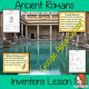 Distance Learning Ancient Romans Inventions Google Slides Lesson   Teach children about Ancient Romans and their Inventions. This is a complete lesson to teach children about the different inventions of the Ancient Romans.  The children will learn the types of things the Romans invented, what they were good at and practice using Roman numerals. There is a detailed 28 slide presentation and four versions of the 6-page worksheet to allow children to show their understanding.  This is the Google Slides version