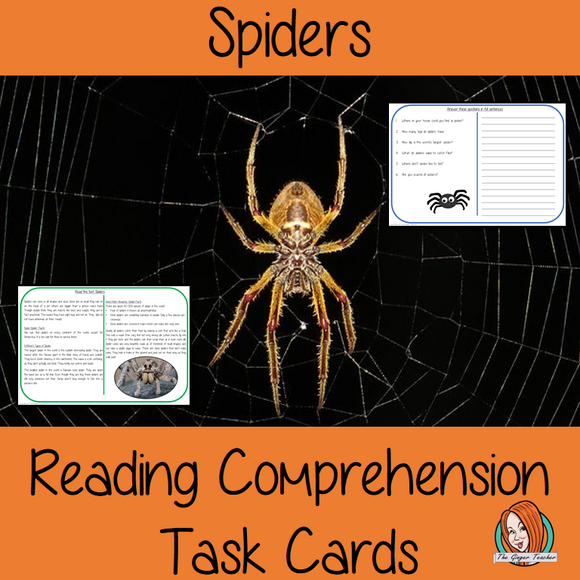 Spiders Reading Comprehension Cards  Differentiated reading comprehension cards. Three levels of texts and questions to help children with reading comprehension. This text is on the Spiders and has questions to help children understand and draw meaning from the text.