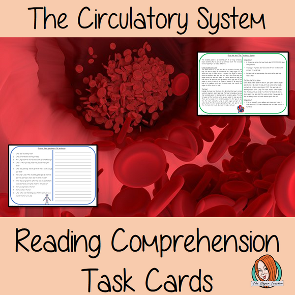 The Circulatory System Comprehension Cards Differentiated reading comprehension cards. Three levels of texts and questions to help children with reading comprehension. This text is on The Circulatory System and has questions to help children understand and draw meaning from the text.